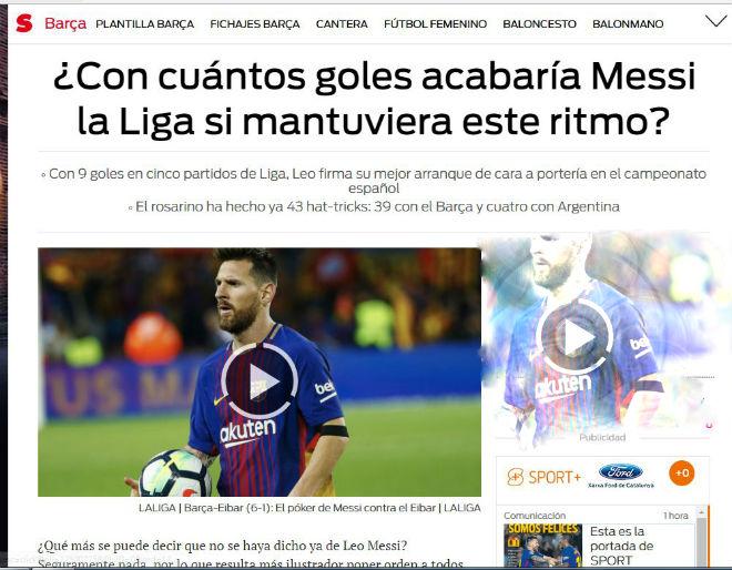"""Messi 9 bàn/5 trận: Báo chí thế giới choáng váng, gọi là """"vị Thần"""" ở Barca - 2"""