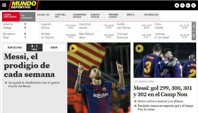 """Messi 9 bàn/5 trận: Báo chí thế giới choáng váng, gọi là """"vị Thần"""" ở Barca - 3"""