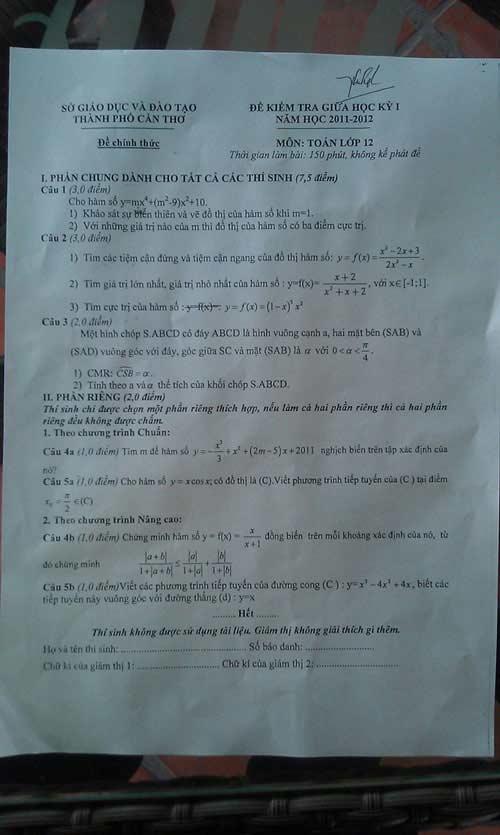 Đề thi Toán giữa kỳ lớp 12 sai bét - 1