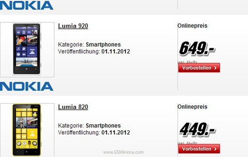 Báo giá Nokia Lumia 920 và 820 - 1