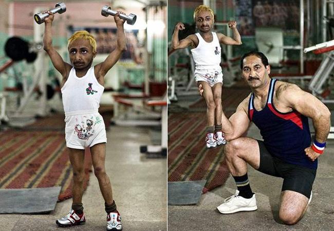 Đây là hình ảnh chàng lực sĩ nhỏ nhất thế giới, tên là Aditya 'Romeo' Dev, người Ấn Độ. Cân nặng của anh chỉ xấp xỉ 10 kg.