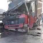 Tin tức trong ngày - HN: Xe tải bốc cháy trên cầu Vĩnh Tuy