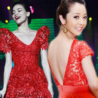 7 chiếc đầm ren đỏ tế nhị của sao Việt