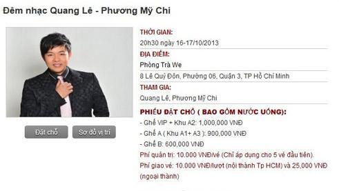 """""""Ngất"""" giá vé show mới Mỹ Chi, Quang Lê - 1"""