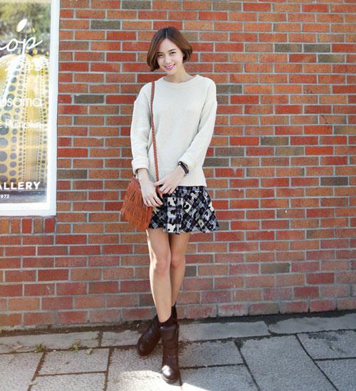 Áo len nào hợp với chân váy đó! - 7