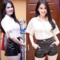Ngọc Trinh mặc quần short siêu ngắn
