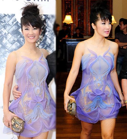 Hồng Nhung táo bạo với váy trong suốt - 1