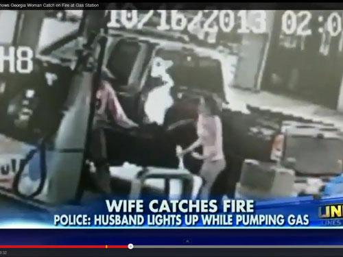 Mỹ: Chồng hút thuốc ở cây xăng, vợ bốc cháy - 1