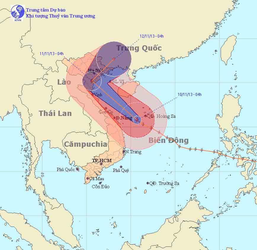 Bão Haiyan hướng về phía bắc Trung Bộ và Bắc Bộ - 1