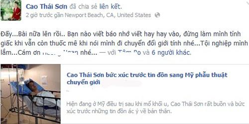 Cao Thái Sơn bác tin đồn phẫu thuật chuyển giới - 3