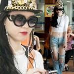 Thời trang - Vũ Hoàng Điệp mặc quần rách bươm ở sân bay