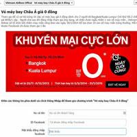Lừa tặng vé máy bay Vietnam Airlines giá 0 đồng