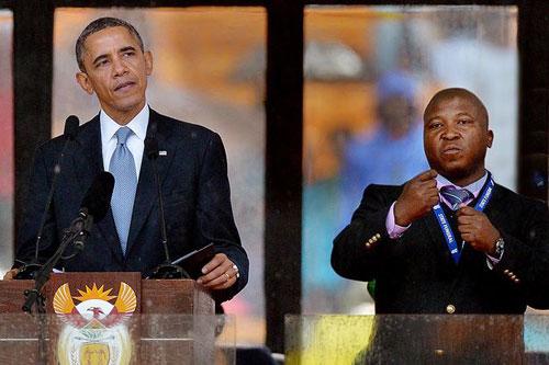 Phiên dịch ở lễ tang Mandela nhập trại tâm thần - 1
