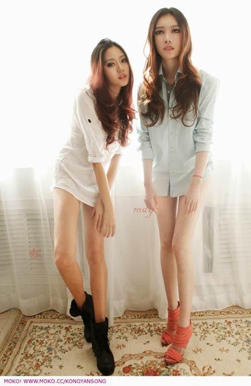 Chân dài miên man của cặp sinh đôi gây sốt - 8