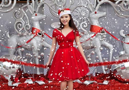 Hải Băng đỏ rực gợi cảm đón Noel - 13