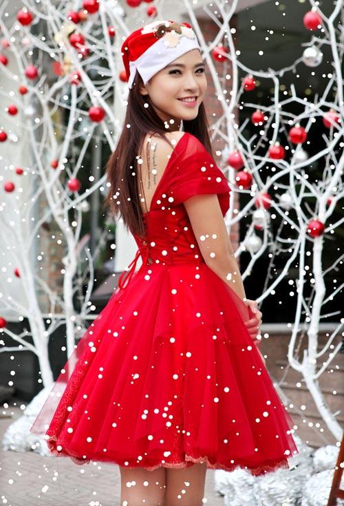 Hải Băng đỏ rực gợi cảm đón Noel - 6