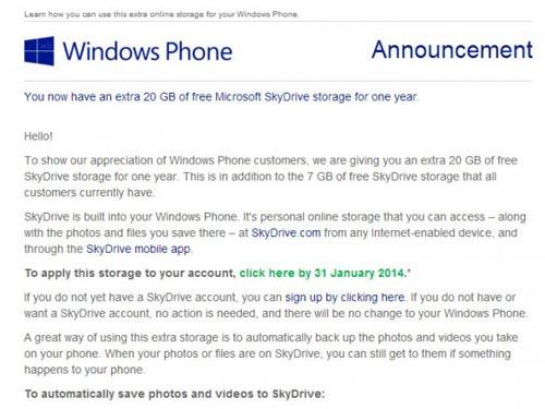 20GB SkyDrive miễn phí cho người dùng Windows Phone - 1