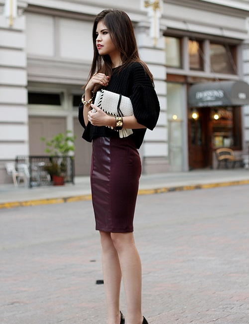 Nâng tầm phong cách với chân váy da - 19
