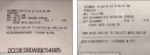 Chơi trò đỏ đen, Mayweather bỏ túi 2 triệu đô - 1