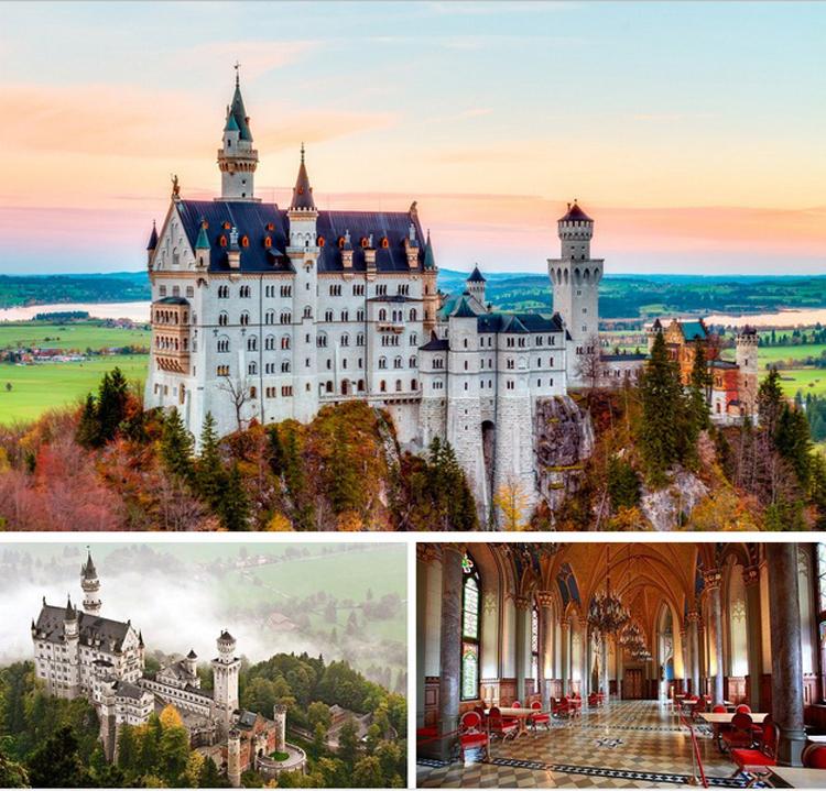 1. & nbsp;Lâu đài Neuschwanstein, Đức  Vua Ludwig II của xứ Bavaria đã xây dựng lâu đài tráng lệ mang tên Neuschwanstein này vào năm 1886, làm nơi ở ẩn của mình. Bảy tuần sau khi ông qua đời, vào năm 1886, lâu đài được mở cửa cho dân chúng thăm quan và từ đó Neuschwanstein trở thành một trong những lâu đài được thăm quan nhiều nhất ở Châu Âu. Lâu đài này cũng là nguồn cảm hứng để Disneyland thiết kế lâu đài của Nàng công chúa ngủ trong rừng.