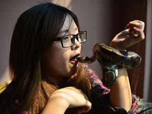 Nữ sinh Báo chí với sở thích ''đá lưỡi'' hôn trăn