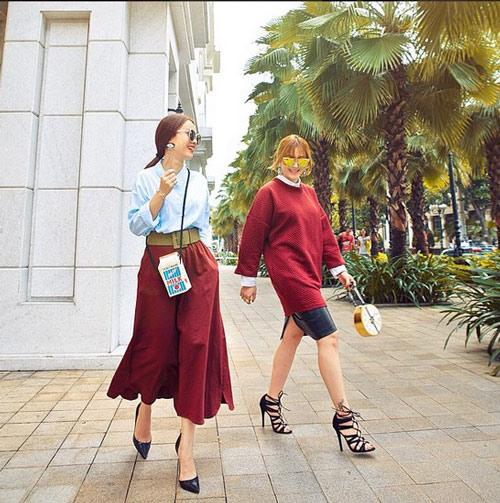 Gam xanh phủ sóng thời trang xuống phố của sao Việt - 2