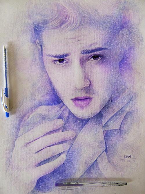 Chàng trai vẽ truyền thần tuyệt đẹp bằng bút bi - 9