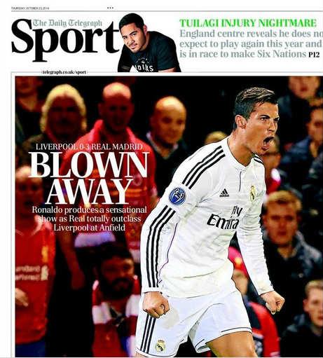 """Báo chí Anh """"ngả mũ"""" trước Ronaldo xuất sắc - 1"""