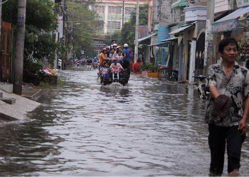 TP.HCM: Học sinh lội nước về nhà sau tan học - 5