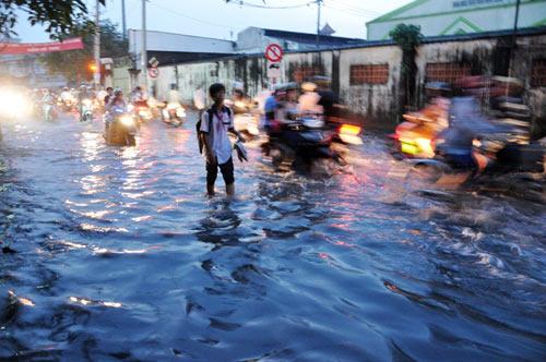 TP.HCM: Học sinh lội nước về nhà sau tan học - 6