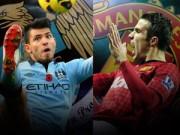 "Derby Manchester: Van Persie ""thở dài"" nhìn Aguero"