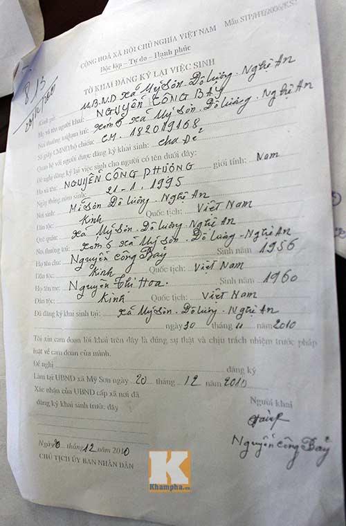 Hồ sơ gốc chứng minh Công Phượng sinh năm 1995 - 5