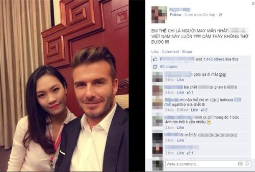Vẻ đẹp thanh lịch của cô gái chụp ảnh cùng Beckham - 1