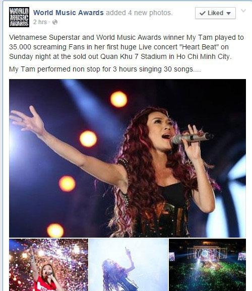Live concert Mỹ Tâm được fanpage giải thưởng thế giới quan tâm - 1