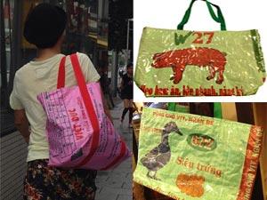 """Bao bì cám Con Cò thành túi xách rất """"mốt"""" ở Nhật"""