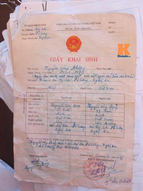 Sở Tư pháp Nghệ An xác nhận Công Phượng sinh năm 1995 - 1