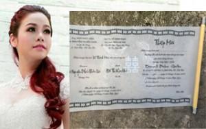 Lộ thiệp cưới lạ của Nhật Kim Anh