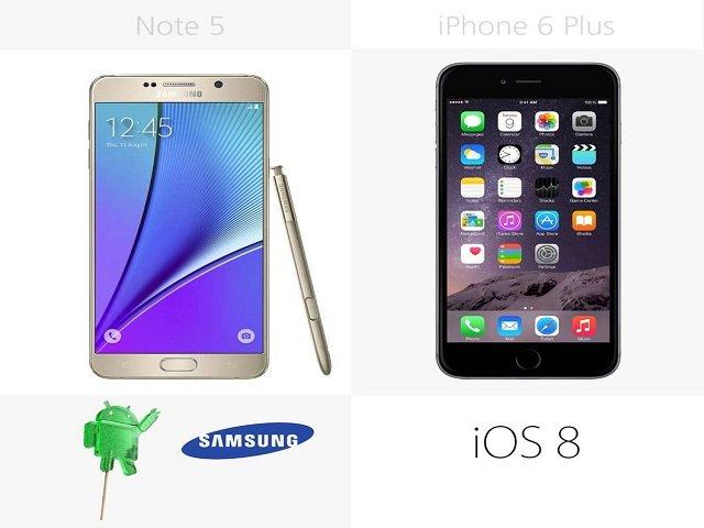 So sánh chi tiết giữa Galaxy Note 5 với iPhone 6 Plus