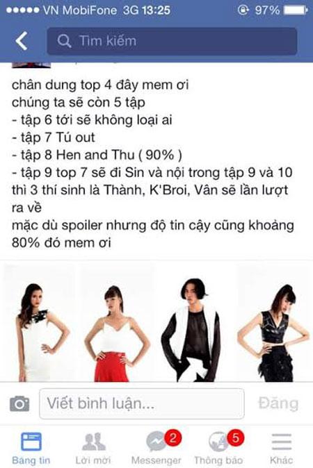 """Top 4 Người mẫu Việt Nam """"khớp"""" với kết quả đã rò rỉ - 1"""