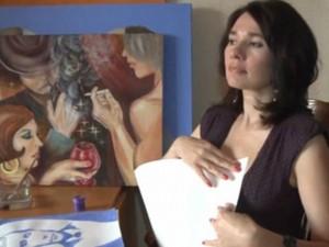 """Chuyện lạ - Video: Nữ họa sĩ vẽ tranh bằng... """"gò bồng đào"""""""
