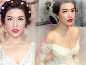 Á hậu Lệ Hằng khoe thềm ngực quyến rũ với váy cưới