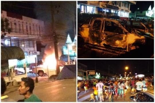 Thái Lan: Bạo loạn tại Phuket, người dân đốt xe cảnh sát - 1