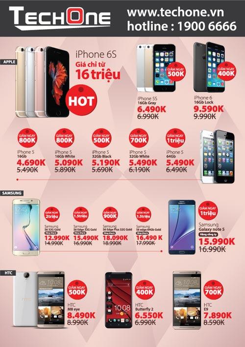 TechOne giảm giá smartphone, tặng iPhone 6S Plus dịp 20/10 - 2