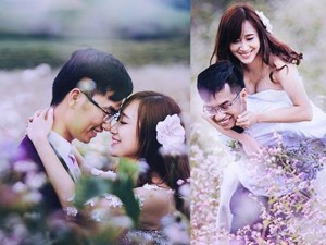 Mê mẩn bộ ảnh cưới giữa cánh đồng hoa tam giác mạch