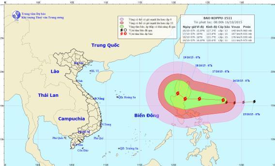 Xuất hiện siêu bão Koppu ngoài biển Đông - 1