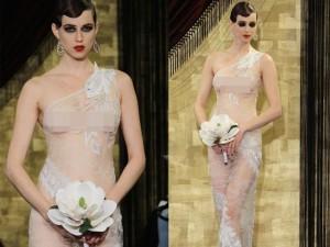"""Nín thở ngắm cô dâu mặc váy cưới """"mỏng như không"""""""