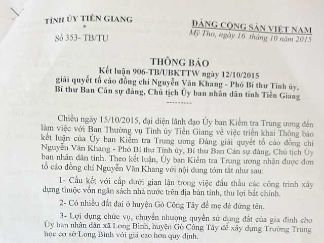 Công bố kết quả xác minh đơn tố cáo Chủ tịch Tiền Giang - 1