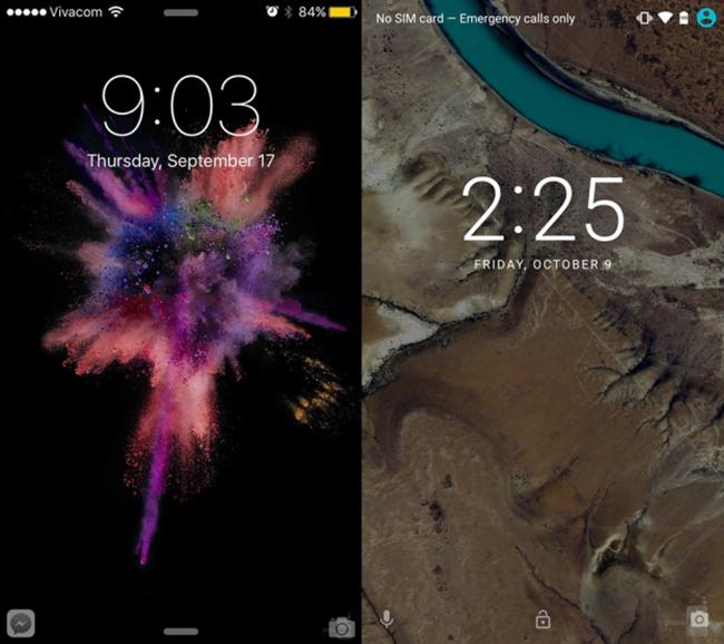 iOS 9 hiện đang có sẵn trên iPhone 6S, iPhone 6S Plus, và cũng có thể cập nhật từ các thiết bị cũ như iPhone 4S và iPad mini 2, trong khi đó Android 6.0 chỉ mới chạy trên các dòng điện thoại Nexus mới nhất của Google, bao gồm Nexus 5X và Nexus 6P cũng như một số dòng Nexus cũ. Trong ảnh là màn hình khóa của iOS 9 và Android 6.0.
