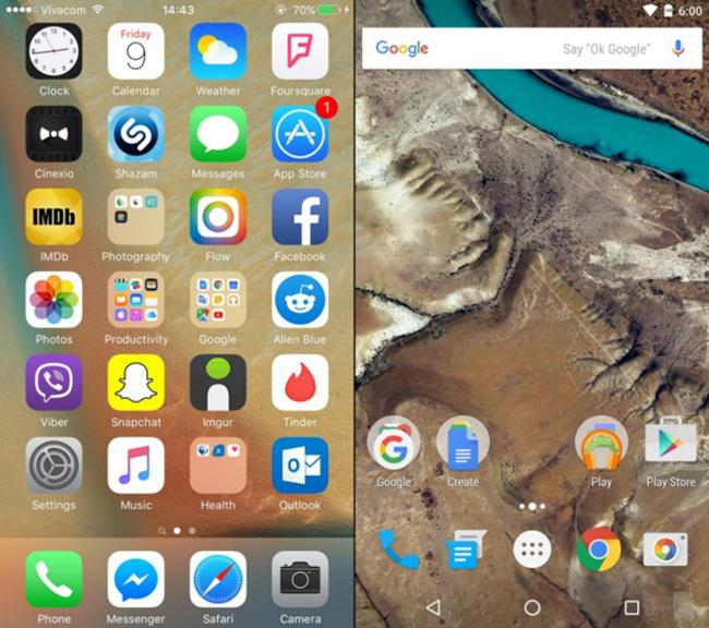 Giao diện hiển thị danh sách ứng dụng của iOS 9 (bên trái) và Android 6.0 (bên phải). Để mở danh sách ứng dụng đầy đủ trên Android 6.0, người dùng phải nhấn thêm vào biểu tượng màu trắng ở cạnh dưới màn hình.