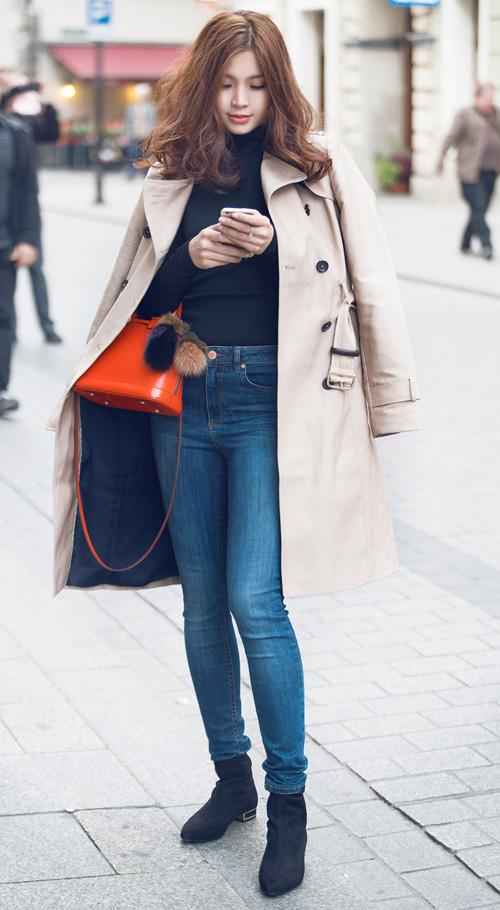 Diễm Trang mặc sành điệu trên phố Ba Lan - 1